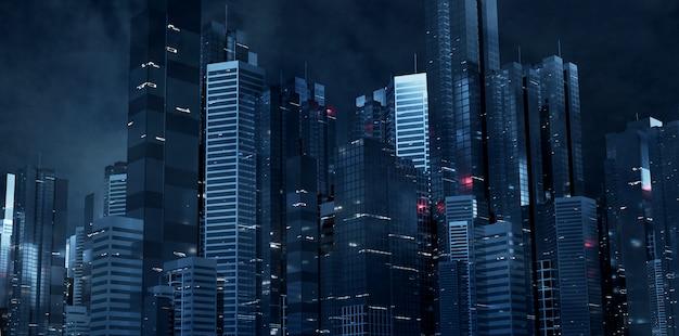 Cidade futurista à noite Foto Premium