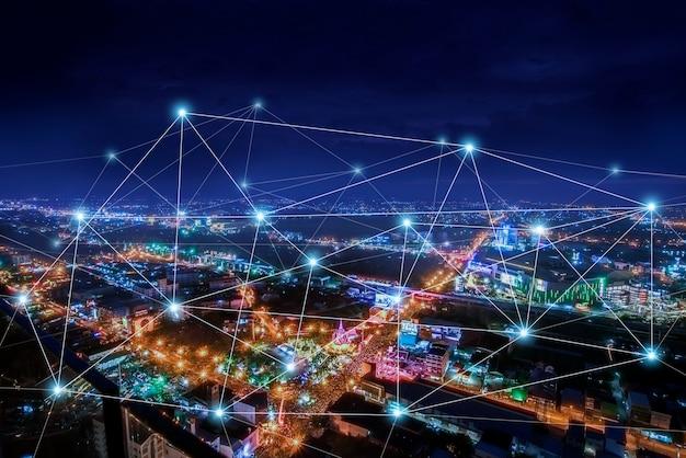 Cidade inteligente e rede de comunicação Foto Premium