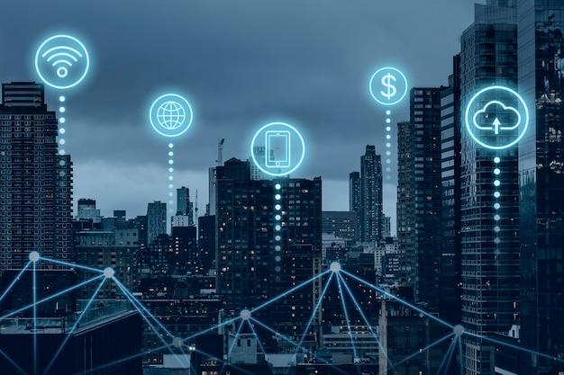 Cidade inteligente futurista com tecnologia de rede global 5g Foto gratuita