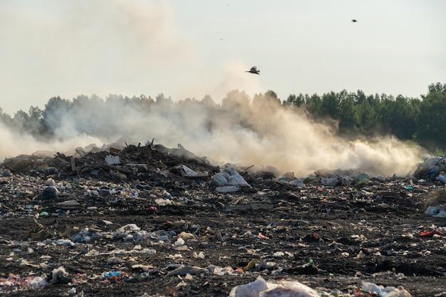 Cidade lixeira com lixo diferente queima em um dia ensolarado de verão Foto Premium