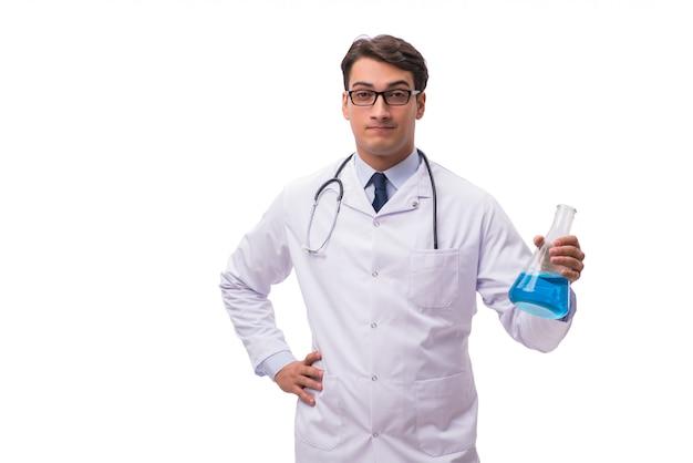 Cientista de laboratório isolada no branco Foto Premium