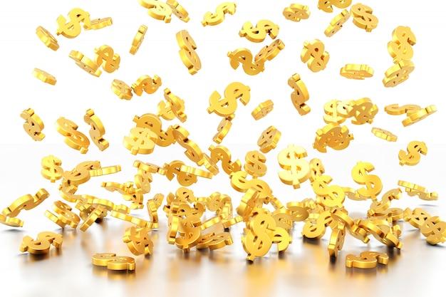 Cifrão dourado. renderização em 3d. Foto Premium