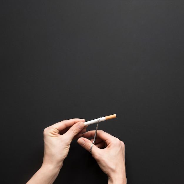 Cigarro de corte de mão vista superior Foto gratuita