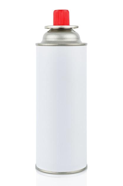 Cilindro de gás portátil branco para aparelhos a gás portáteis com tampa vermelha fechada isolada no fundo branco Foto Premium