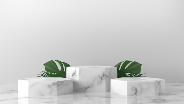 Cilindro de mármore branco de luxo três com folhas no fundo Foto Premium