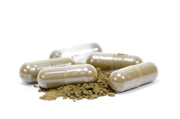 Cima, andrographis, paniculata, herbário, antipirético, cápsulas, isolado, branco Foto Premium
