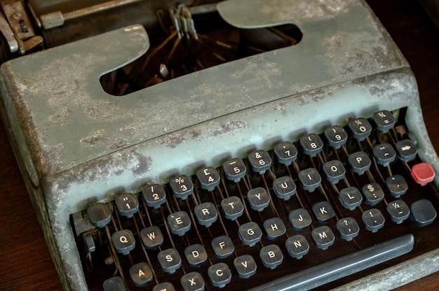 Cima, de, vindima, máquina escrever, teclas Foto Premium