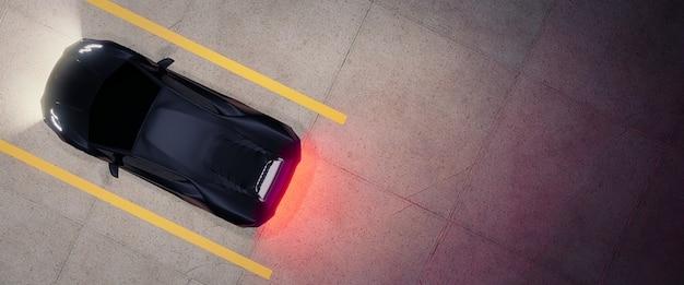 Cima para baixo do estacionamento com carro, render 3d Foto Premium