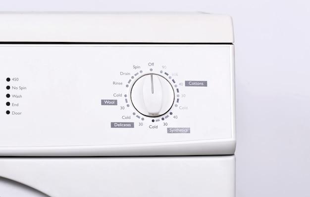 Cima, vista, de, painel instrumento, ligado, lavadora roupa Foto Premium