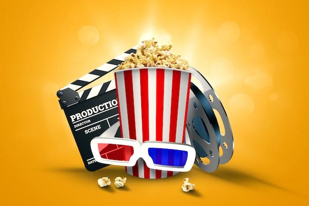 Cinema, atributos de cinema, cinemas, filmes, visualização online, pipoca e óculos. Foto Premium