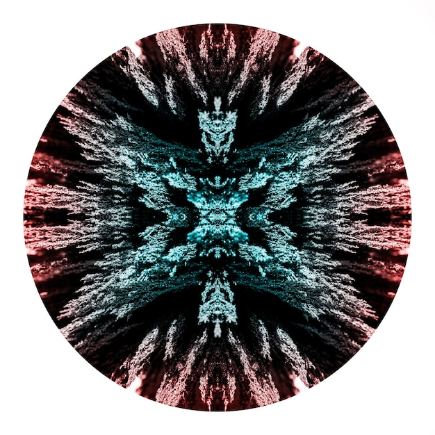 Círculo de design de barbear metálico magnético de caleidoscópio em fundo branco Foto gratuita