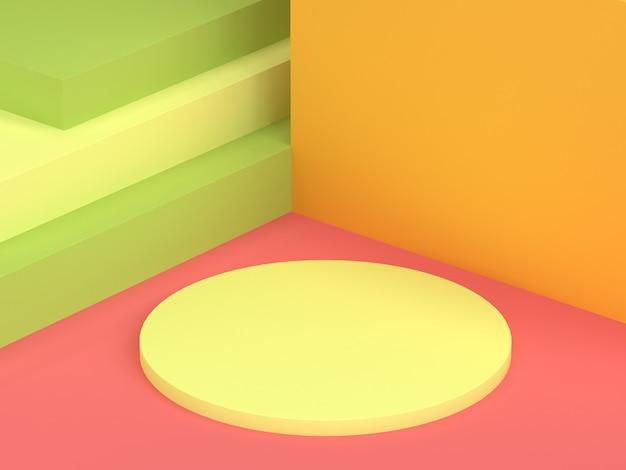 Círculo, parede amarela, vermelho, rosa, chão, abstratos, cena mínimo, fundo, 3d, renderização Foto Premium