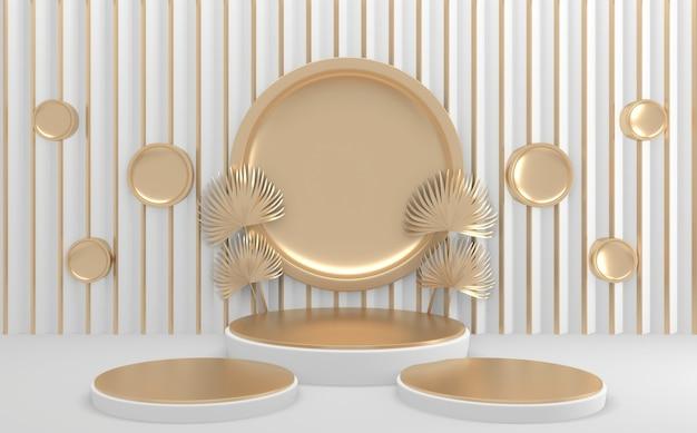 Círculo pódio geométrico dourado e branco. renderização 3d Foto Premium