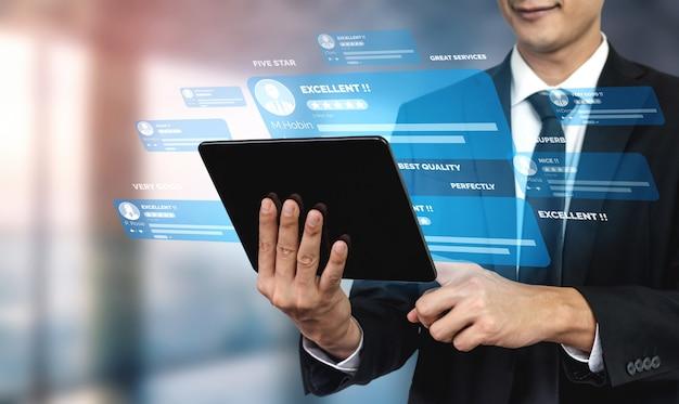 Cliente rever o conceito de pesquisa de feedback de satisfação. Foto Premium