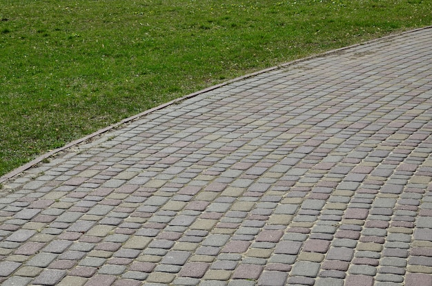 Close de foto de fundo de uma grande plataforma de pedra de pavimentação em perspectiva Foto Premium