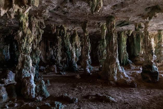 Close de uma caverna antiga cheia de mistério em bonaire, no caribe Foto gratuita