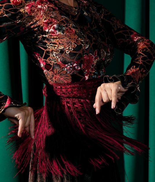 Close-up, bonito, vestido flamenco Foto gratuita