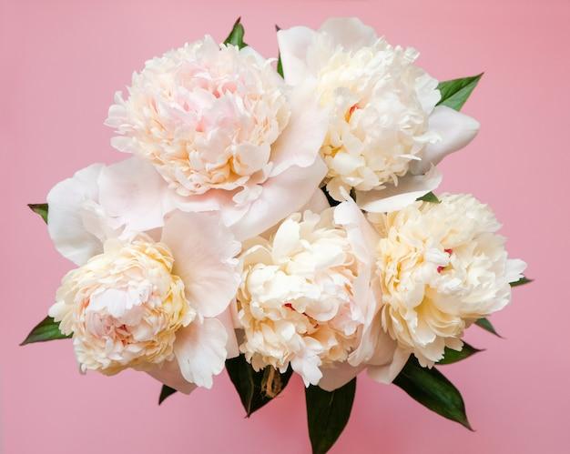 Close-up branco bonito do ramalhete da peônia na cor-de-rosa. vista do topo. lay plana Foto Premium