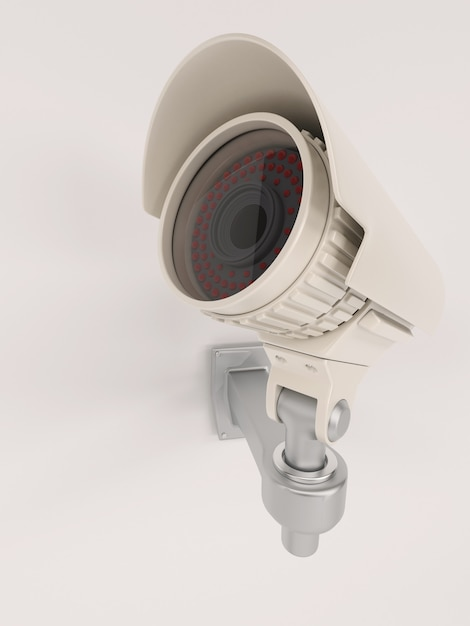 Close-up da câmera de vigilância na parede Foto gratuita