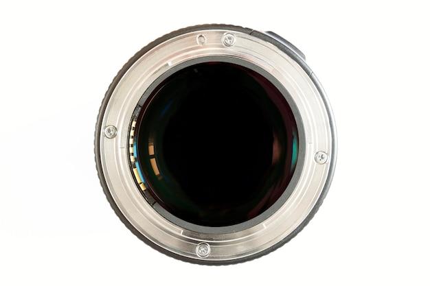 Close-up da lente da foto da câmera no fundo branco com reflexões da lente. Foto Premium