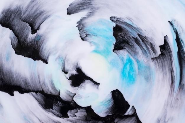 Close-up, de, abstratos, azul preto, tinta óleo, escova, curso, fundo Foto gratuita