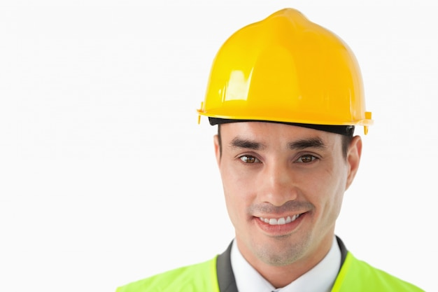 Close up de arquiteto com capacete em Foto Premium