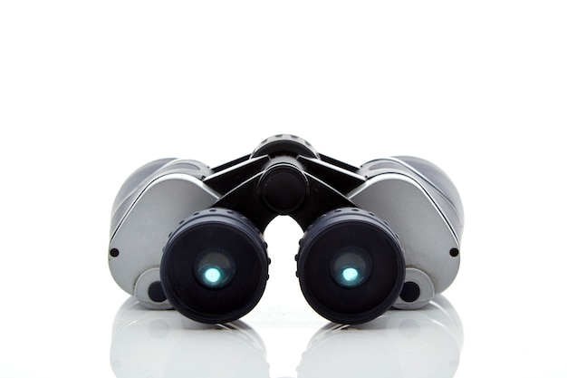 Close-up, de, binóculos, fundo branco Foto Premium