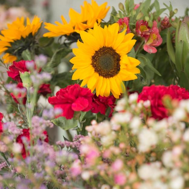 Close-up, de, bonito, buquê flor Foto gratuita
