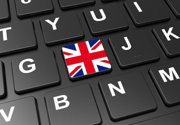 Close-up de botão com a bandeira da grã-bretanha no teclado preto Foto Premium