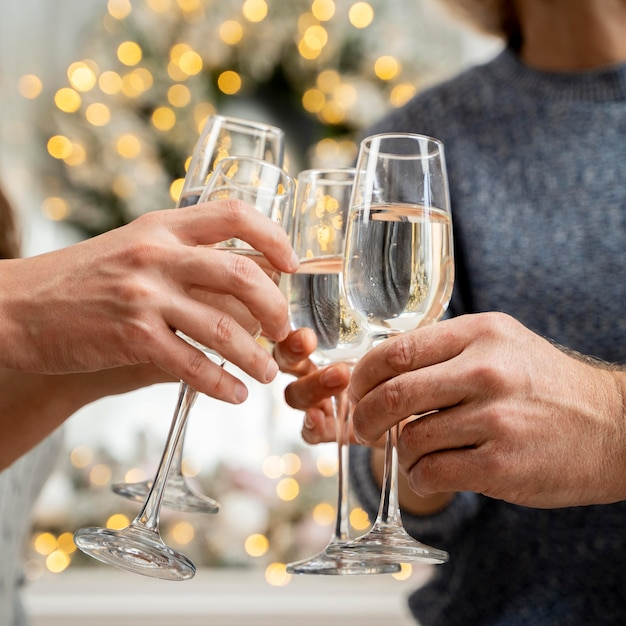 Close-up de família torcendo com champanhe Foto gratuita