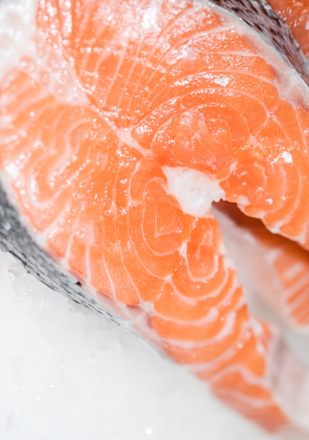 Close-up, de, freshly, corte, peixe, carne Foto gratuita