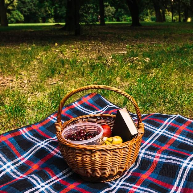 Close-up, de, frutas, e, livro, em, a, cesta vime, ligado, cobertor Foto gratuita