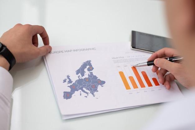 Close-up, de, macho, mãos, trabalhando, com, europa, venda, relatório estatístico Foto gratuita