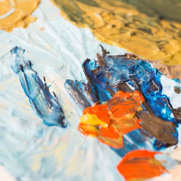 Close-up, de, messy, misturado, cremoso, textured, óleo, pintura Foto gratuita