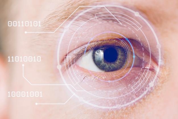 Close-up, de, olho, com, azul, overlay Foto gratuita