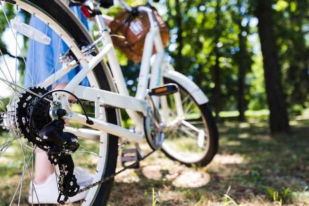 Close-up, de, roda traseira, de, um, bicicleta Foto gratuita