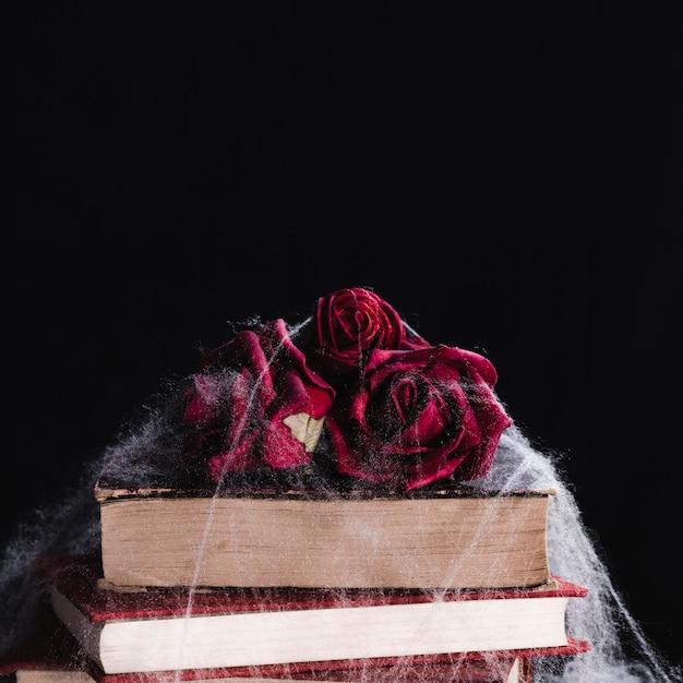Close-up de rosas e livros com teia de aranha Foto gratuita