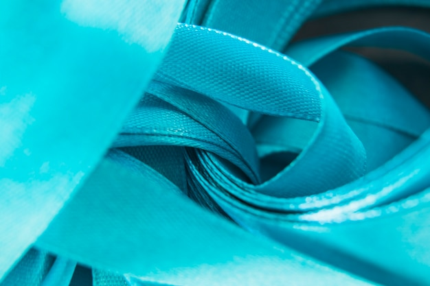 Close-up, de, satin azul, ondulado, fita Foto gratuita