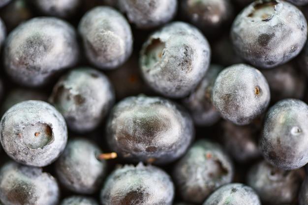 Close-up de textura de mirtilos frescos - frutas de vista superior macro Foto Premium