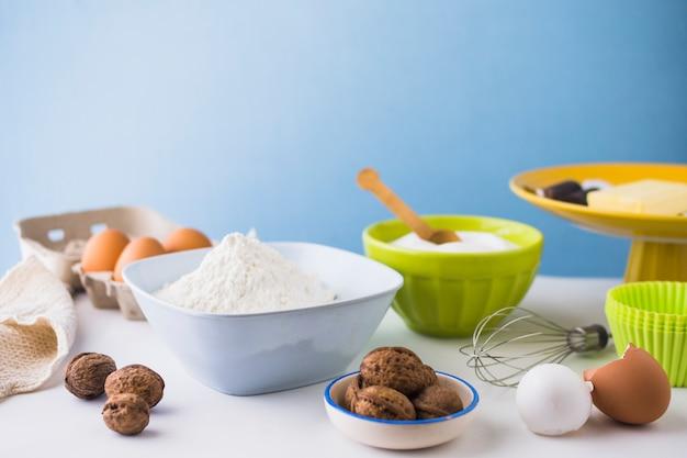 Close-up, de, vários, assando ingredientes, ligado, tabela Foto gratuita