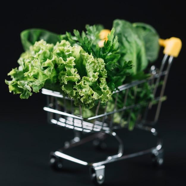 Close-up de vegetais de folhas verdes no carrinho de compras sobre o pano de fundo preto Foto gratuita