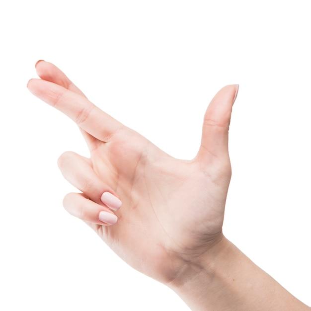 Close-up, mão, com, cruzado, dedos Foto gratuita