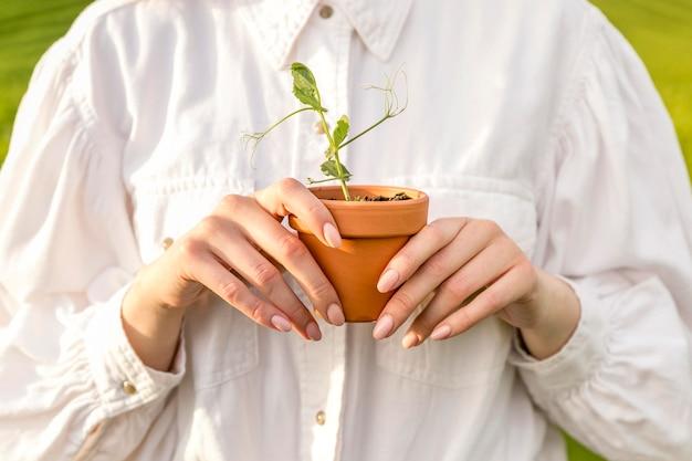 Close-up mulher segurando o vaso Foto gratuita