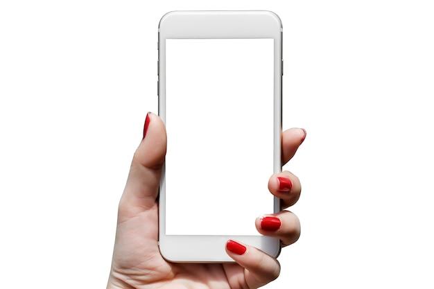 Close-up mulher segurando telefone Foto Premium