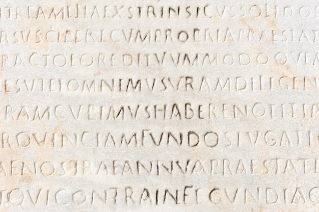 Closeup, de, antiga, latim, texto Foto Premium
