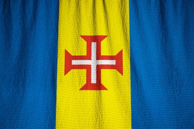 Closeup, de, babado, madeira, bandeira, madeira, bandeira, soprando, em, vento Foto Premium