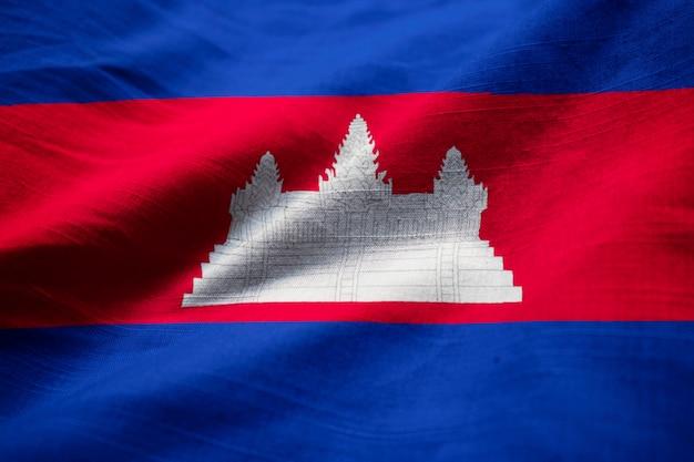Closeup, de, babados, bandeira cambodia, bandeira cambodia, soprando, em, vento Foto Premium