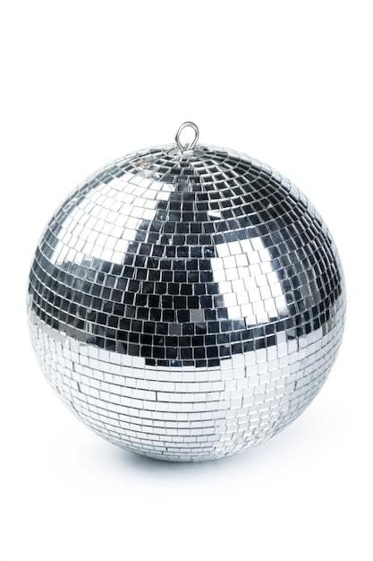 Closeup de bola de discoteca isolado no branco Foto Premium