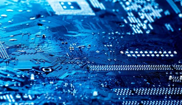 Closeup de circuito azul a bordo Foto Premium