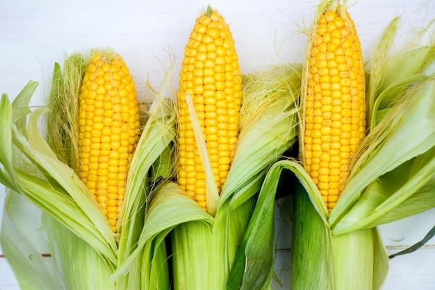 Closeup de espigas de milho amarelo sobre fundo branco, vista superior, macro Foto Premium